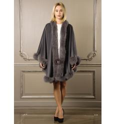 Anthracite Cape MONIKA Angora and Fox