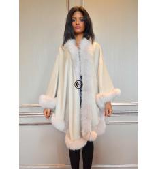 Beige Cape MONIKA Angora and Fox
