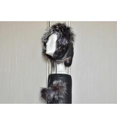 Black Silvered Trapper Hat ESKIMO Nubuck and Fox