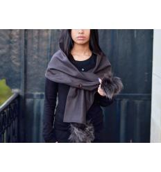 Brown Scarf CELINE Fox