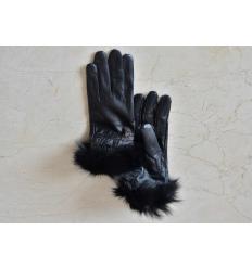 Gants noirs ATHENA Nubbuck et renard