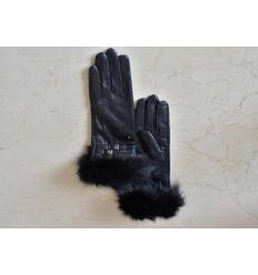 Black Gloves MATHILDE Nubuck and Fox