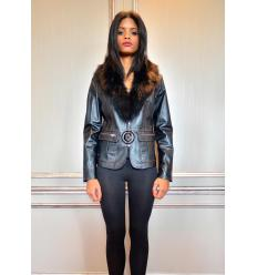 Black Jacket MIRALINA Leather and Fox