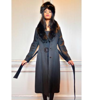 Manteau noir MIRALINA K57 Renard