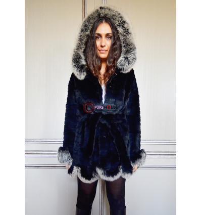 Manteau noir et argent 7111 Lapin et Renard
