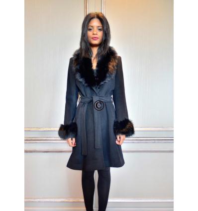 Manteau noir ELYSA Renard