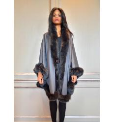 Grey Cape MONIKA Angora and Fox