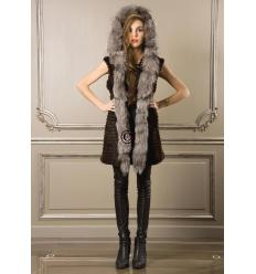 Brown and Silver Vest LINE Fox