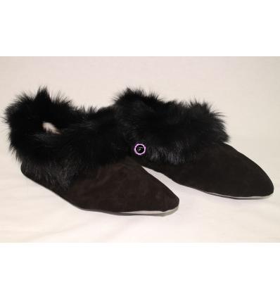 Chaussons noirs TRENDY Nubbuck et Mouton