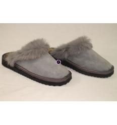 Grey Slippers KLIO Nubuck, Sheepskin and Rabbit