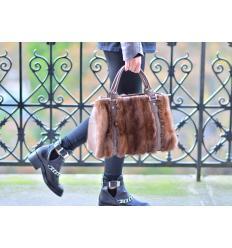 Brown Handbag PRINCE Nubuck and Mink