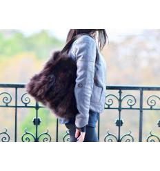 Brown Handbag ERATO Nubuck and Fox