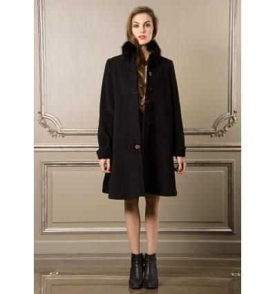 Manteau noir OSAKA Renard