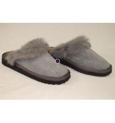 Grey Slippers KLIO Nubuck, Sheepskin and Rabbit