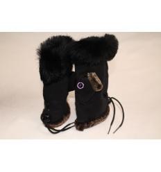 Black Fingerless Gloves MITA Rabbit and Sheepskin